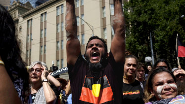 Thousands attended the 'Invasion Day' rally in Melbourne.
