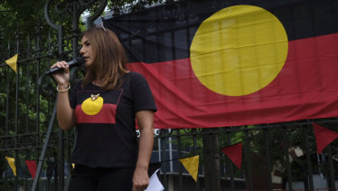 "Lidia Thorpe speaks to protesters before an ""invasion day"" march on January 26."