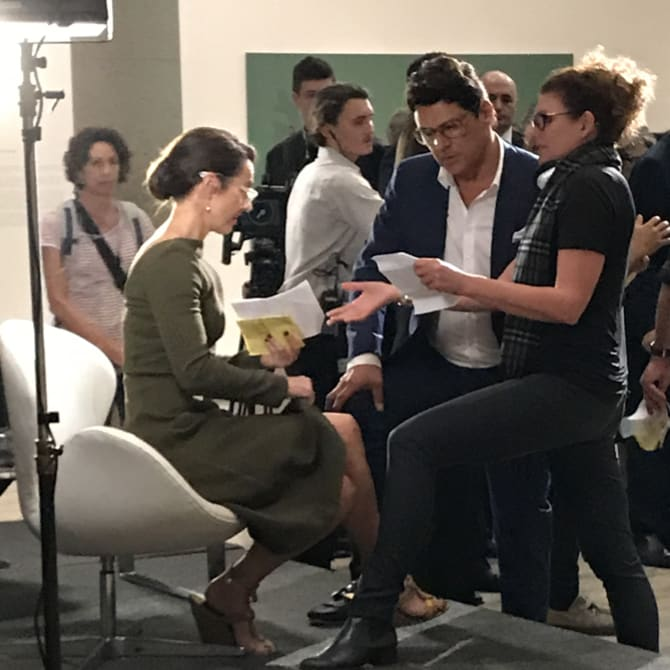 Rachael Blake, Vince Colosimo and director Mairi Cameron on the set of The Second.