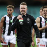 End of a chapter: Nathan Buckley at his last game as Collingwood coach.