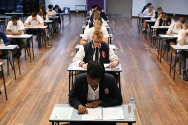 Year 12 students sit the HSC at Penola Catholic College in Emu Plains on Tuesday.