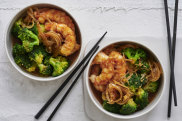 Stir-fried prawns with ginger and broccoli.