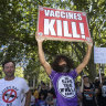 Millions March rally against vaccine draws hundreds