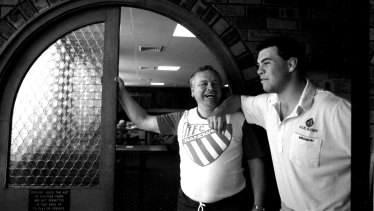Jeff Sayle with now-Wallabies coach and former Randwick player Michael Cheika back in 1989.