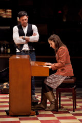 Steve Kazee, left, and Milioti in Once on Broadway.
