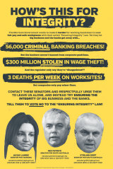 The Electrical Trades Union newspaper ad against the Morrison government's Ensuring Integrity Bill.