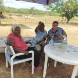 Nancy Nodea, Mabel Juli and Madeline Purdie at the temporary camp at Norton Bore, half an hour from Warmun in the Kimberley region.