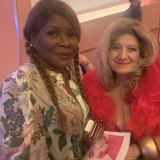 Marcia Hines and Maria Venuti at Wednesday's memorial service.
