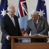 Prime Minister Scott Morrison and Fiji's Frank Bainimarama during his official visit to Parliament House in Canberra in 2019.