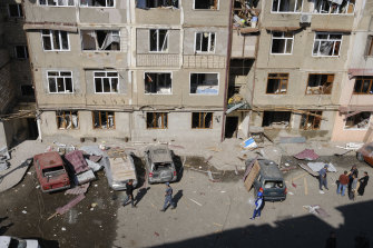 A residential area that was allegedly damaged by shelling during conflict in the self-proclaimed Republic of Nagorno-Karabakh, Azerbaijan.