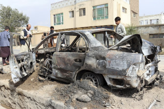 The vehicle damaged by a rocket attack in Kabul.