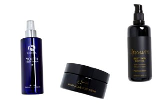 iS Clinical Youth Body Serum, $165. Sodashi Arabian Oud Body Cream, $159. Ipsum Best Skin Body Oil, $45.