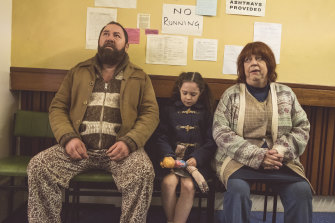 Mark Addy, Eloise Groom as a young Alice, and Jo Brand in The More You Ignore Me.