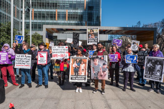 Supporters protest outside the Federal Court in Melbourne in 2019.