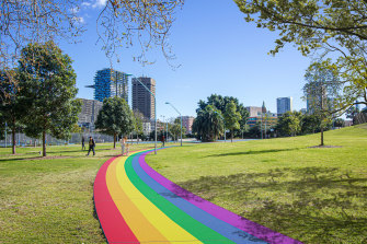 An artist's impression of the rainbow pathway proposed for Prince Alfred Park.