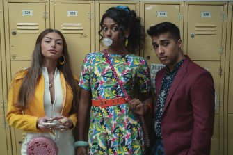 Mimi Keene (left, as Ruby Matthews) with Simone Ashley and Chaneil Kular in Sex Education.
