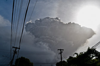 Ash rises into the air as La Soufriere volcano erupts on the eastern Caribbean island of St Vincent.