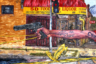 """Crime Scene"" by artist and filmmaker George Gittoes."