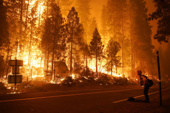 Gabe Huck, a member of a San Benito Monterey Cal Fire crew, stands along state Highway 168 while fighting the Creek Fire on Sunday, September 6 in Shaver Lake, California.