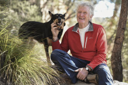 Greg Mortimer with his dog Annie in the Blue Mountains.