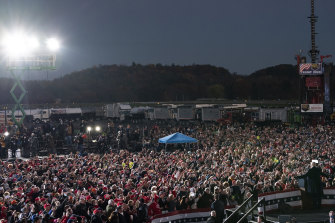 Trump speaks at a campaign rally at Pittsburgh-Butler Regional Airport on Saturday, October 31.