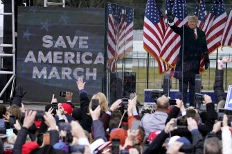 President Donald Trump addresses his supporters at a rally before the riot.