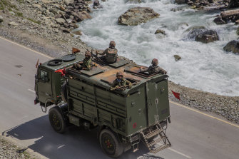 Indian army convoy carrying reinforcement and supplies, drive towards Leh, on a highway bordering China on September 2.