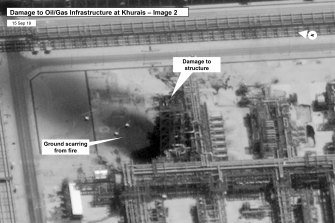 Damage to infrastructure at Saudi Aramco's Kuirais oil field in Buqyaq, Saudi Arabia.