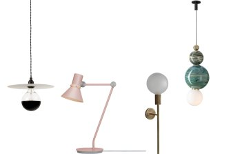 Eclipse 1; Anglepoise Type 80 table lamp; wall light from the Attalos range; and The Spacey pendant lamp.