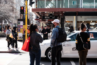 Pedestrians in Wellington, New Zealand.
