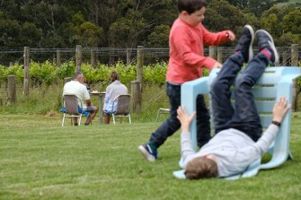 Kids make use of the lawn at Red Hill Estate on Saturday.