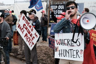 Protestors make their feelings known about Hunter Biden at an Atlanta rally late in 2020.