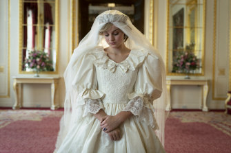 Actress Emma Corrin in a remake of Princess Diana's iconic wedding dress.