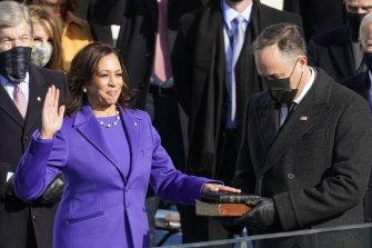Kamala Harris is sworn in as Vice-President in a suit by Christopher John Rogers.