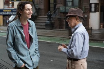 Woody Allen (right) and Timothee Chalamet on the set of A Rainy Day in New York.