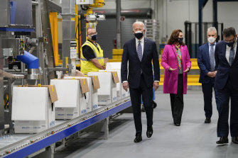 President Joe Biden and Vice-President Kamala Harris tour a Pfizer manufacturing site in Michigan.