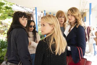 Secret women's business in Big Little Lies. From left, Shailene Woodley, Zoe Kravitz, Reese Witherspoon, Nicole Kidman and Laura Dern.