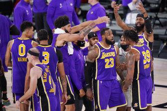 The Lakers will face either Miami or Boston.