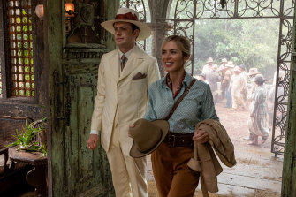 Jack Whitehall is Macgregor and Emily Blunt is Lily in Jungle Cruise.