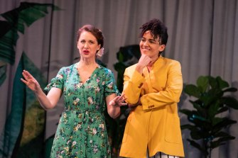 Mandy Bishop and Zindzi Okenyo in the Bell Shakespeare production of Much Ado About Nothing.