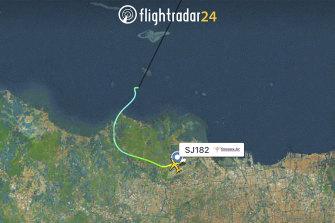 This radar image shows the flight path of Sriwijaya Air Flight 182 before it dropped off radar on Saturday.