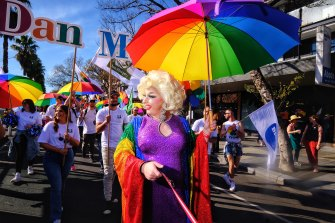 Pride March participants and spectators enjoyed a warm, sunny day.