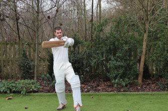 Co-author of the paper Ben Tinkler-Davies tries out a bat made from bamboo.