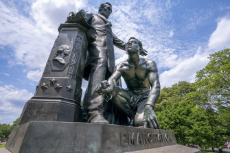 The Emancipation Memorial in Washington's Lincoln Park, which depicts a freed slave kneeling at the feet of former president Abraham Lincoln.