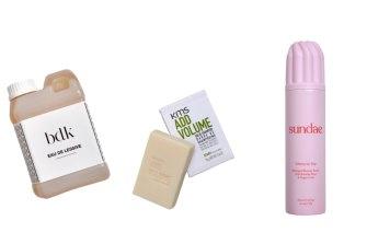 Bdk Eau de Lessive, $55. KMS Add Volume Solid Shampoo, $32. Sundae Cherry on Top Whipped Shower Foam, $20.
