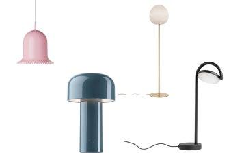 Lolita suspension lamp; the Bellhop table lamp packs; Foscarini Rituals XL floor lamp; The Marselis table lamp.