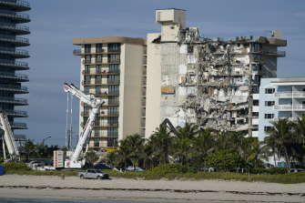Heavy machinery at the partially collapsed Champlain Towers in Surfside, Florida.