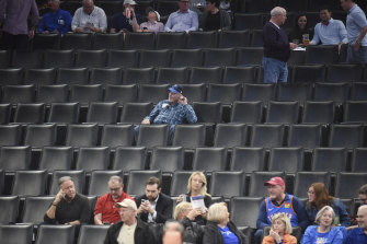 Fans clear out after the NBA match between Oklahoma City and Utah Jazz was postponed.
