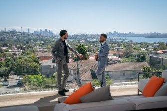 It's all about the view, bro: Old pals Simon Cohen and Gavin Rubinstein butt heads in Luxe Listings Sydney.