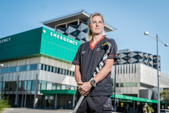 Hockeyroos goalkeeper Rachael Lynch is a nurse at Fiona Staney Hospital.
